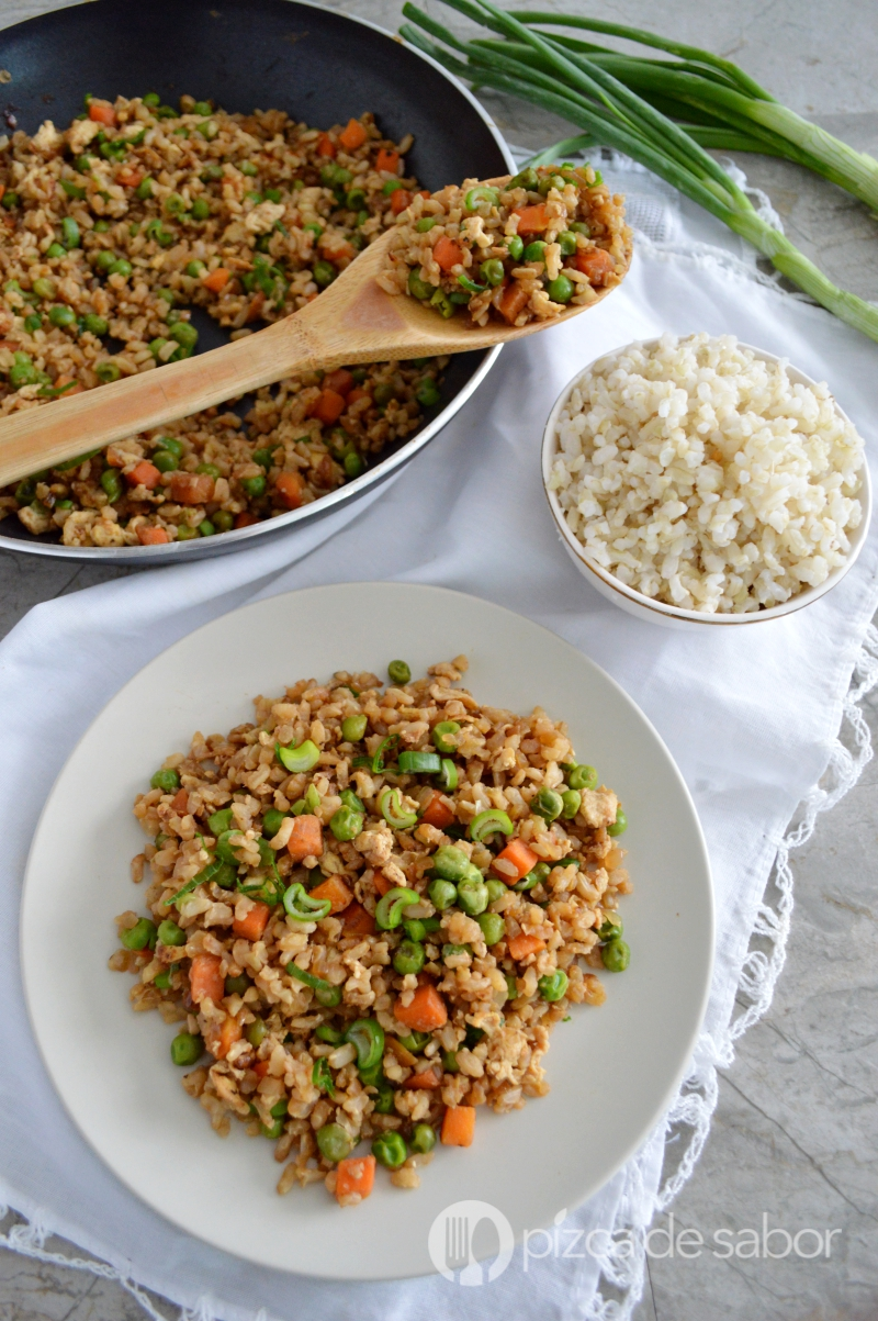 Como hacer arroz integral frito